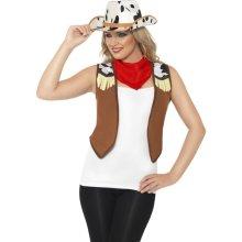Ladies Wild West Instant Kit - Fancy Dress Cowgirl Costume Smiffys Waistcoat -  kit wild west fancy instant dress cowgirl costume ladies smiffys