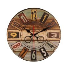 [Bicycle] 14 Inch Vintage Wooden Wall Clock Decorative Silent Wall Clock