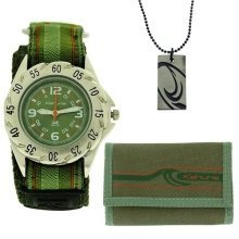 Kahuna Green Velcro Strap Watch, Wallet & Beads Necklace Boys Gift Set AKKS-002M
