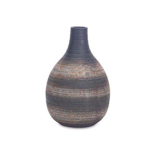 Melrose International 70814 10 in.Vase Porcelain, Grey Rustic - Set of 2