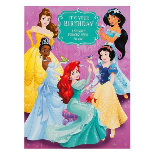 Hallmark Disney Princess Birthday Card 'Sparkly Wish' - Extra Large