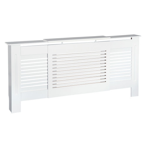 HOMCOM MDF Extendable Radiator Cover Cabinet Shelving Home Office Slatted Design White 140-204L x 21W x 83H cm