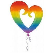 S/Shape:Rainbow Open Heart - Foil Balloons 2879301