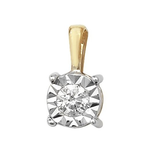 Childrens 9ct Gold 0.1ct Illusion Set Diamond Pendant On A Prince of Wales Necklace