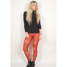 Rockoff Trade Women's Deathbat Crest Leggings, Red, Small-medium -  avenged sevenfold death bat crest red ladies womens girls fashion leggings