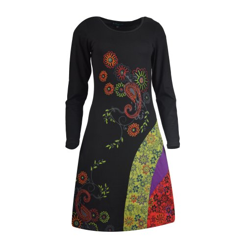 TATTOPANI Ladies Long Sleeve Dress With Floral Print and Embroidery Work