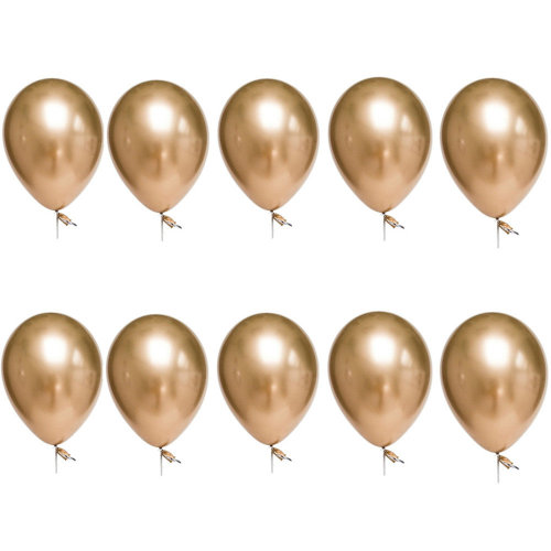 TRIXES Pack of 10 Metallic Latex Balloons 12inch Party Decoration Colour Gold