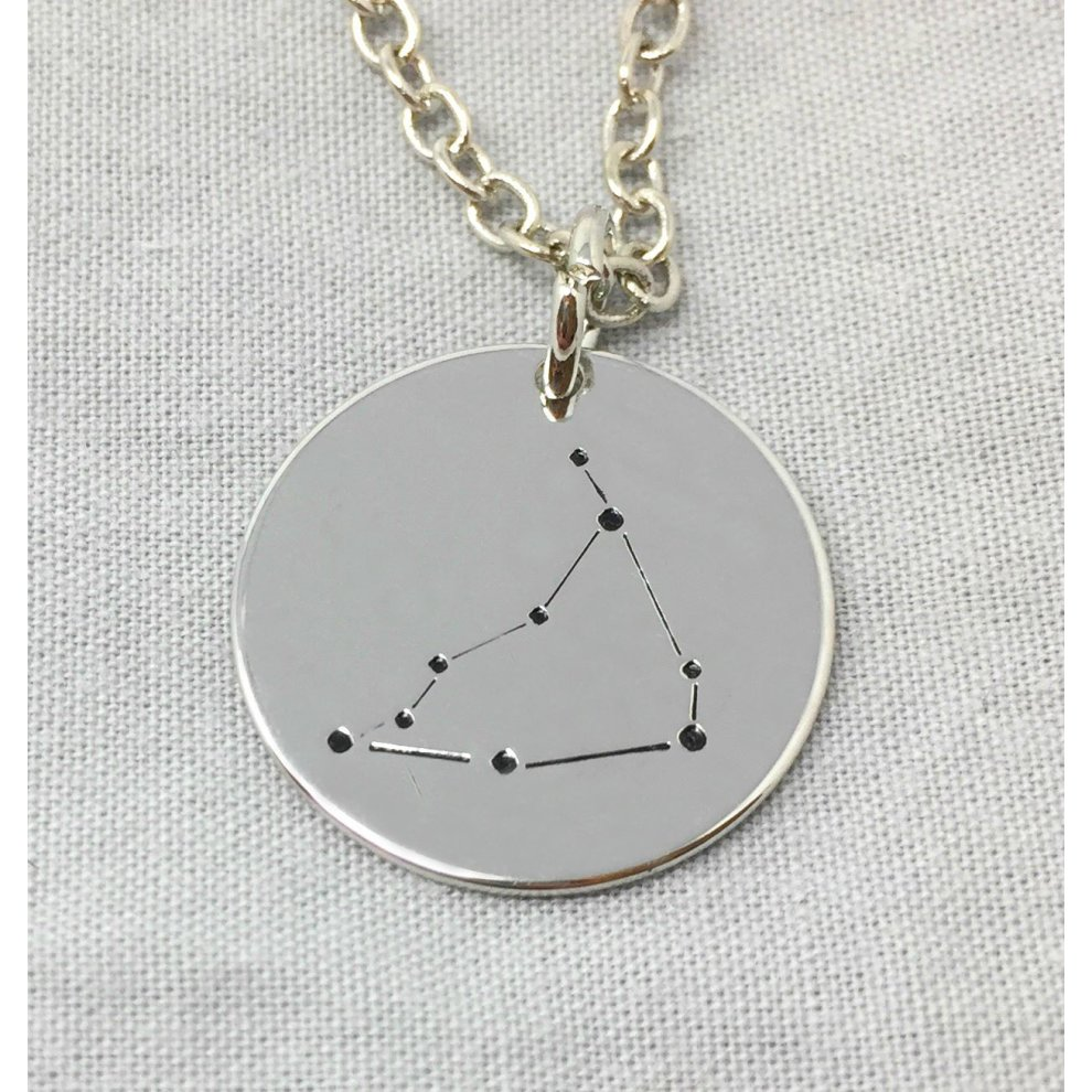 Silver-Tone 'Capricorn' Engraved Pendant Necklace 1 8cm With 18 Inch Chain  Star Constellations Zodiac Signs