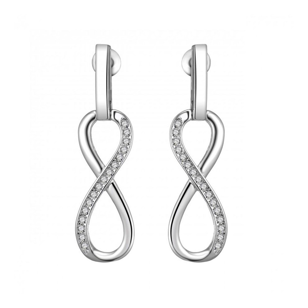 69d7282bb77c1 Silver Plated Infinity Drop Earrings Created with Swarovski Crystals