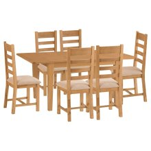 Rustic Oak 1.2m Butterfly Extending Table & 6 Fabric Seat Chairs