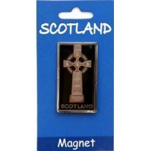 Scotland Celtic Cross Brass Fridge Magnet Scottish Souvenir Gift Black Silver