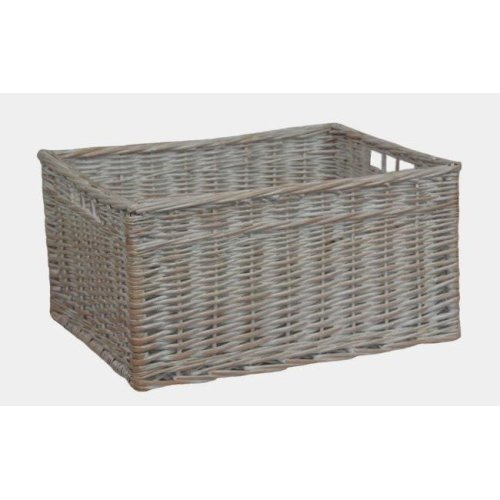 White Wash Storage Wicker Open Basket Large