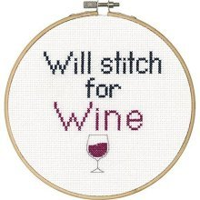 Dimensions Needlecrafts 70-74635 Say It Counted Cross Stitch Kit, Stitch For - -  stitch say wine counted cross kit6 round 14