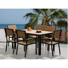 Garden Table and Chairs - Dining Set - 6 Seater - 150 cm Table - Polywood - Brown - COMO