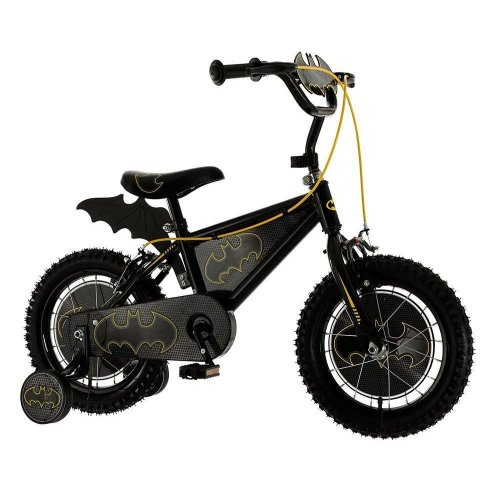 "New Batman Kids Boys 14"" Wheel Single Speed Bat Bike Black Stabilisers M14009"