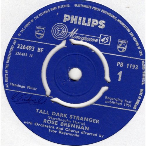 "Tall Dark Stranger / The Girl With The Wistful Eyes 7"" (UK 1961) , Rose Brennan"