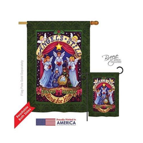 Breeze Decor 14117 Christmas Sing for Him 2-Sided Vertical Impression House Flag - 28 x 40 in.