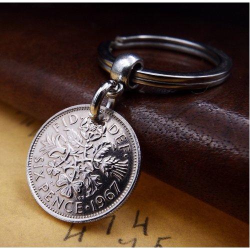 1967 Sixpence Coin Keyring Birthday Gift.
