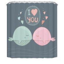 Bathroom Shower Curtains Children Waterproof Shower Curtains [Dolphin]