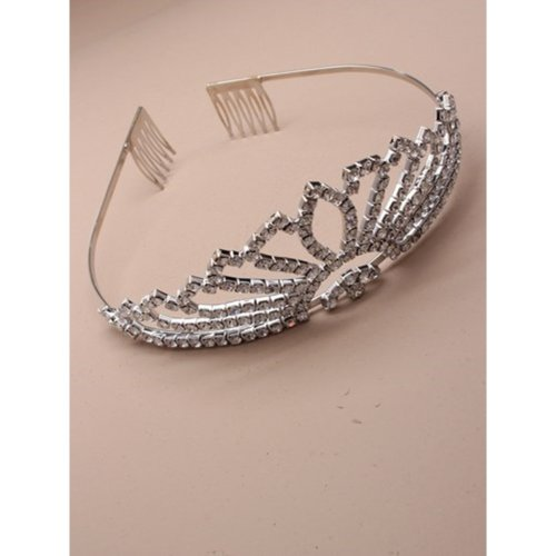 Vintage Plated Flaired Crystal Wedding Tiara