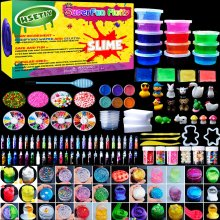 HSETIY Super Slime Kit Supplies-12 Crystal Clear Slimes with 54 Packs Glitter Sheet Jars, 3 Jelly Cubes,4 Pcs Fruit Slices,16 pcs Animals Beads,...