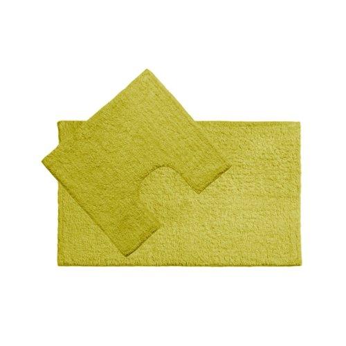 Cotton Bath Mat and Pedestal Set - Lime Green