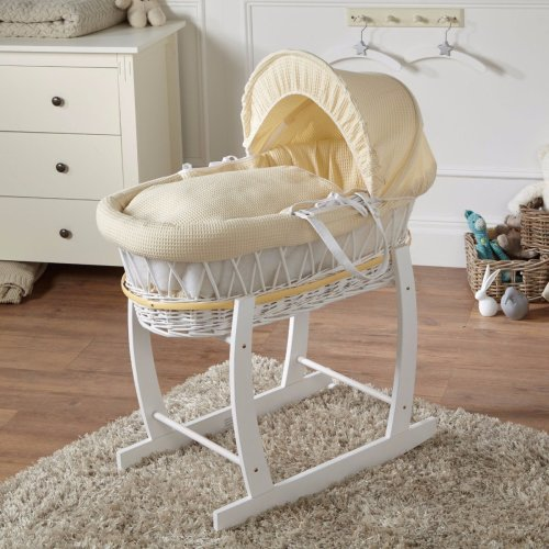White Wicker Cream Waffle Moses Basket With White Rocking Stand