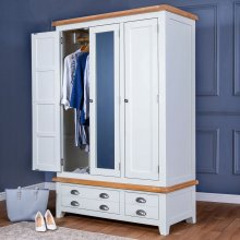 Hampshire White Painted Oak Triple Wardrobe
