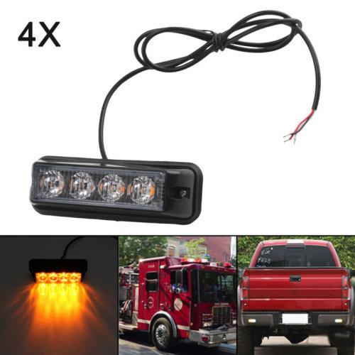 4X12/24V AMBER RECOVERY CAR STROBE LED LIGHTS ORANGE BREAKDOWN FLASHING NEW