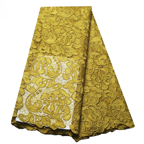Gold guipure lace fabrics New design african cord lace for wedding
