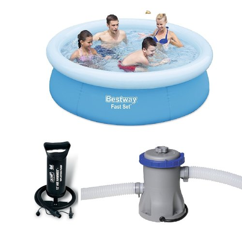 Bestway  6 Ft 6 Inch Fast Set Pool With Hand Pump & 330 Gallon Water Pump