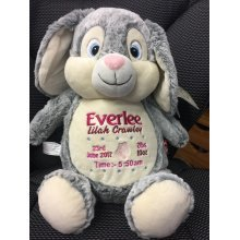 Soft Grey Bunny Teddy Bear Embroidered Message, Name or Birth Date