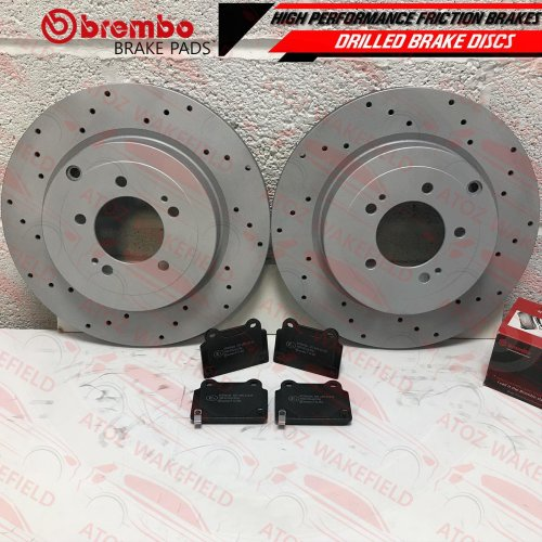 FOR MITSUBISHI LANCER EVO X 10 REAR PERFORMANCE DRILLED BRAKE DISCS BREMBO PADS