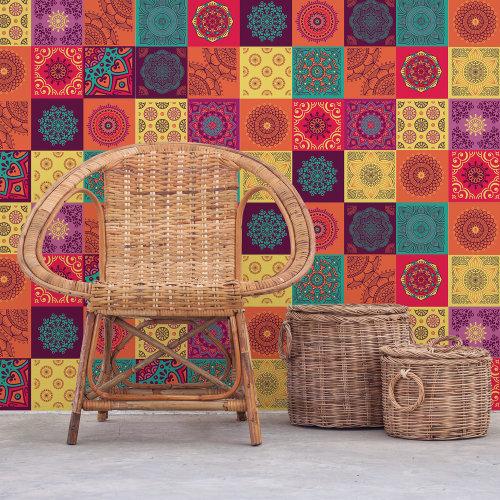 Walplus Tile Colourful Mandala Tiles Wall Sticker Decal (Size: 20m x 20cm @ 12pcs)