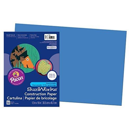Pacon SunWorks Construction Paper 12 x 18 50 Count Blue 7407