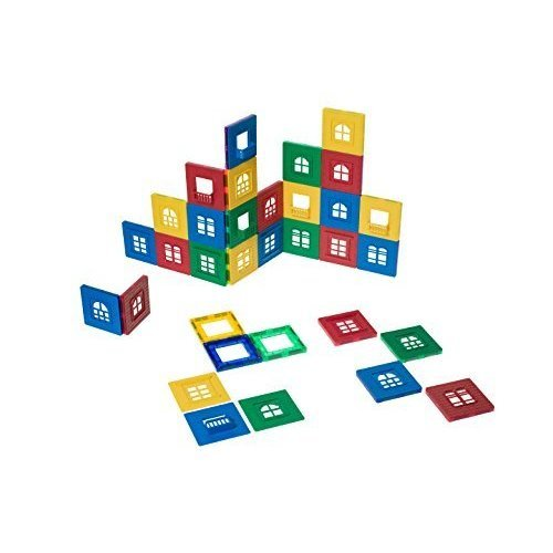 Playmags Magnetic Tile Building Set: EXCLUSIVE Window Clickins – 60-Pc. Kit: 30 Super Strong Clear Color Magnetic Tiles Windows & 30 Clickin...