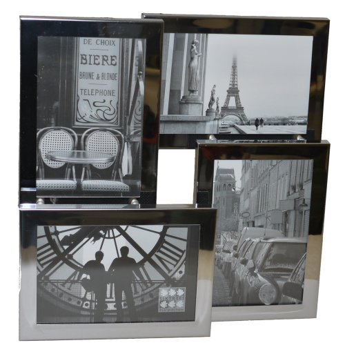 "Sixtrees Brooklyn 4-116-C Stainless Steel 3D Multi Aperture Photo Frame for four 6""x4"" pictures."