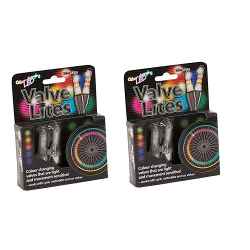 Bundle - 2 X Valve Lites - Colour Changing Bike Lites - 2 Items Supplied