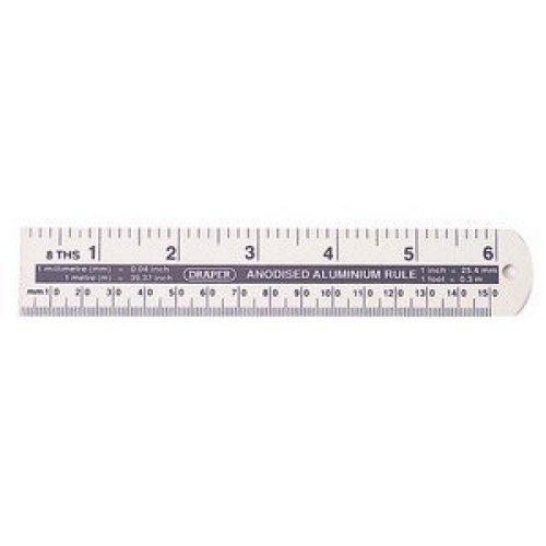 """6"""" 152mm Draper Aluminium Rule - 52396 152mm6 -  draper rule 52396 152mm6aluminium"""