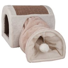 Trixie Abri Douillet Ladina With Cat Play Tunnel – 32x32x40 cm – light - Cats -  trixie cats cuddly cave ladina light grey taupe new